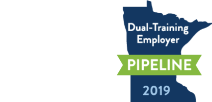 Made in the use and dual training employee pipeline award logos