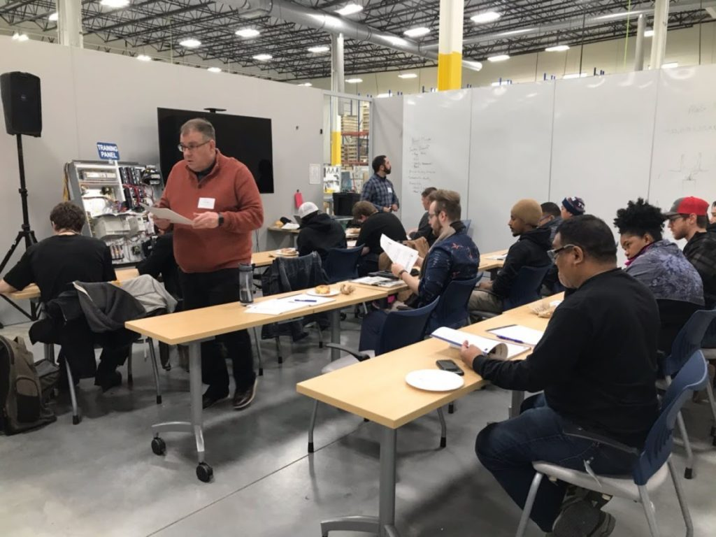 Design Ready Controls employees attending an onsite Hennepin Tech class.